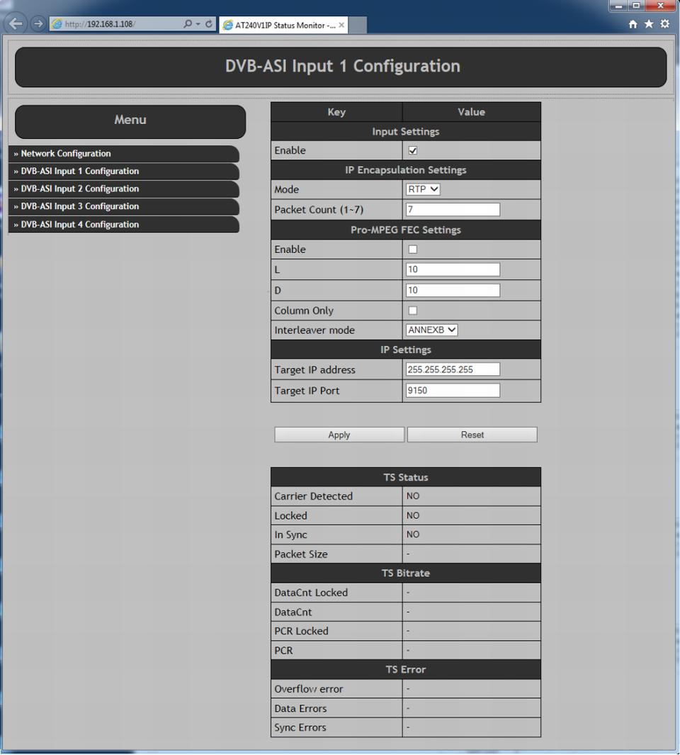 Alitronika At240 Dvb Asi To Ip Converter Ts Player Recorder I P Block Diagram Input Settings